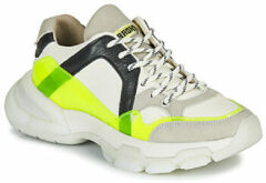 Witte Bronx Seventy-Street leren sneakers off white/neon geel
