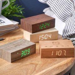 Gingko Wekker - Alarmklok Flip Click Clock walnoot - oplaadbaar