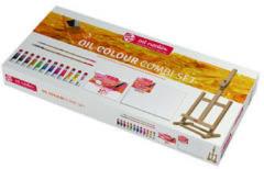Royal Talens Oil Colour set 12 kleuren 12 ml tubes olieverf met penselen, doek, tafelezel en afscheurpalet