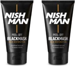 Zwarte Nish Man Peel-Off Black Mask-150 ml- 2 stuks