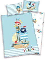 Blauwe Non-License Baby Best Little Pirates - Dekbedovertrek - Ledikant (100x135 cm + 1 sloop) + 1 stuk (40x60 cm) - Multi
