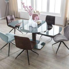 Wohnling Esszimmertisch NOBLE 120 - 180 cm ausziehbar dunkelgrau Metall / Glas Tisch für Esszimmer rechteckig Küchentisch 4 - 8 Personen Design Ess