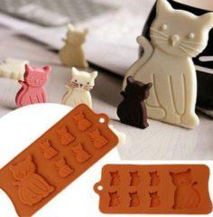 Bruine Pippashop Siliconen bakvorm katten - koekjes - chocolade
