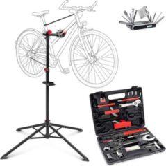 Relaxdays 3er Fahrrad Bastelset Montageständer Werkzeugkoffer Multifunktionswerkzeug