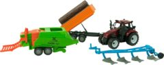 Merkloos / Sans marque Tractorset frictie met 3 aanhangers 37cm
