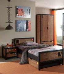 Vipack Furniture Vipack Set Alex best. aus Nachtkonsole, Einzelbett 90x200, Bettschublade, Kleiderschrank 2-trg. Kiefer gebürstet