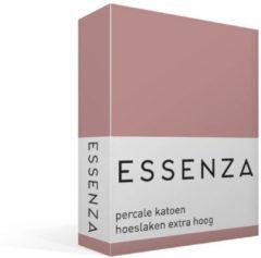 Roze Essenza Premium - Percale katoen - Hoeslaken - Lits-jumeaux - 160x200 cm - Dusty Rose