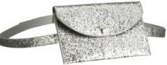 Merkloos / Sans marque Gliter heuptasje zilver 18 cm - heuptasje glitter