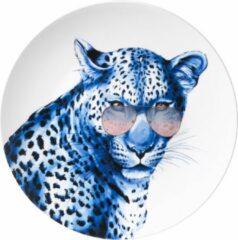 Bord Luipaard met bril XL| Heinen Delfts Blauw | Wandbord | Delfts Blauw bord | Design |