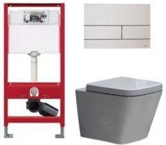 Douche Concurrent Tece Toiletset - Inbouw WC Hangtoilet wandcloset - Alexandria Tece Square Mat Wit