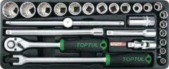 Toptul Inleg plastic 12-kant doppenset 1/2 aandrijving 8-32mm