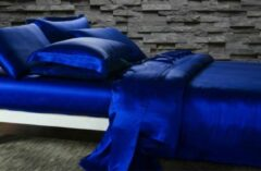 Silkmood Zijden dekbedovertrek, Saffier blauw 140x200cm, 100% zijde,405thread count (19momme)