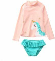 Cutiesz Badpak Meisje Lange Mouw – Zwemkleding lange mouwen – Zwempak Unicorn – Roze Turquoise – Maat 104/110