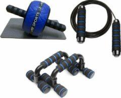 Blauwe AJ-Sports Workout set - Fitness set - Thuis fitness - Home gym - Workout gear - Krachttraining - Opdruksteunen / Push up bar - Ab wheel / Buikspierwiel - Springtouw