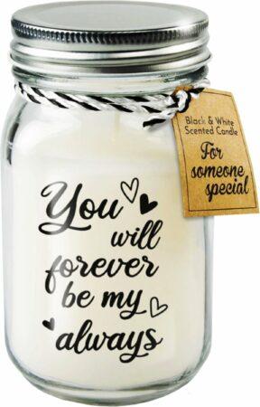 Afbeelding van Paper dreams Black & White geurkaars - Forever be my always