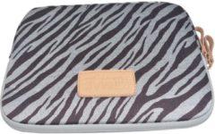 Bruine Kinmac – Laptop /Tablet Sleeve met Zebraprint tot 10 inch – 27,5 x 21 x 1,5 cm - Bruin