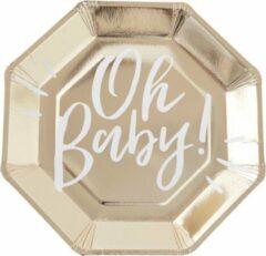 Gouden Ginger ray Oh Baby wegwerp borden (8 stuks)
