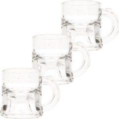 Transparante Merkloos / Sans marque 15x Shotglas/shotjes bierpul glaasjes/glazen met handvat 2cl - Herbruikbare shotglazen - Oktoberfest/kroeg/bar/cafe shot/shotjes glazen