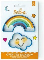 Blauwe Decora Koekjes Uitsteker Set Regenboog & Wolk -2st