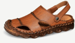 Newchic Men Closed Toe Hand Stitching Outdoor Rubber Toe Leather Sandals