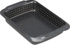 Antraciet-grijze Relaxdays bakvorm geperforeerd - rechthoekige bakplaat - quichevorm - antiaanbaklaag