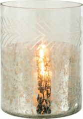 J-Line Windlicht Klassiek Crackle Glas Transparant/Zilver Large