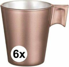 Goudkleurige Luminarc 6x Espresso kopje rose goud - Rose goud koffiekopje 80 ml