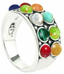 Symbols 9SY 0064 54 Zilveren Ring - Maat 54 - Malachiet - Tijgeroog - Agaat - Parel - Turkoois - Lapis Lazuli - Koraal - Multikleuren - Geoxideerd