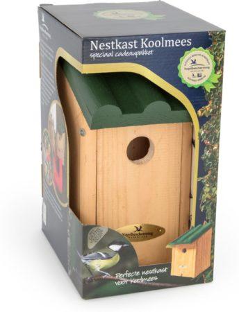 Afbeelding van Cj Wildlife Vogelbescherming Cadeaupakket Koolmees Vogelhuisje - Bruin/Groen - 14 x 12 x 27 cm - Ø32 mm