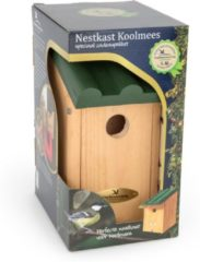 Cj Wildlife Vogelbescherming Cadeaupakket Koolmees Vogelhuisje - Bruin/Groen - 14 x 12 x 27 cm - Ø32 mm
