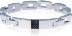 Zilveren Edelstaal heren armband Mendes Carbon