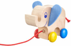 Naturelkleurige Selecta Spellen Selecta Spielzeug Trekfiguur Olifant Yambo Junior 13,5 Cm Hout Naturel