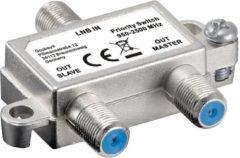 Zilveren Goobay Sat Priority Switch - Voorrangschakelaar Verdeelt/Schakelt 1 Lnb Naar 2 Satellietontvangers