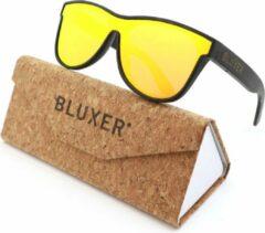 Bluxer® Zonnebril voor Heren en Dames Polaroid - Hippe Houten Zonnebril Gepolariseerd - UV400 Lens - Bamboo (Drijvende Zonnebril) - Orange Red Revo Lens
