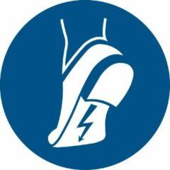 Blauwe Tarifold Pictogram bordje Antistatische veiligheidschoenen verplicht | Ø 300 mm - verpakt per 2 stuks