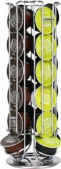 Zindoo ZIN-CH02 koffiecapsules houder - Koffiecups standaard - 24 cups - Dolce Gusto - Draaibaar - Koffie - Espresso - Metalen standaard - Anti-slip - Cup dispenser - Pad organizer - Zilverkleurig - Keukenaccessoire