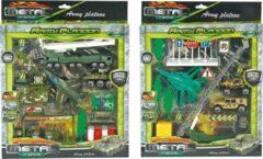 Jollity Works JollyVrooom - Leger Speelset - Die cast - Helikopter - Vrachtwagen - Auto - Verkeersborden - Army - Soldaat - Jeep - Vliegtuig