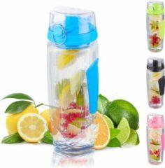 Relaxdays waterfles met fruit filter - drinkbus met infuser - BPA-vrij - fruitwater blauw
