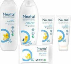 Apple Neutral Baby Huidverzorgingspakket Parfumvrij - Wasgel / Zinkzalf / Bodycreme / Baby Shampoo / Billendoekjes