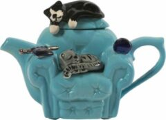 Blauwe The TeaPottery Ceramic Inspirations Tea Pottery Cats Chair 1 Cup Teapot Blue