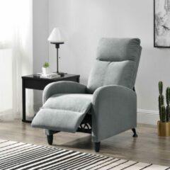 Licht-grijze En.casa Verstelbare relaxfauteuil 102x60x92 cm stof lichtgrijs