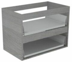 Sub 16 wastafelonderkast met 2 lades zonder fronten 60 x 52 cm, essen grijs