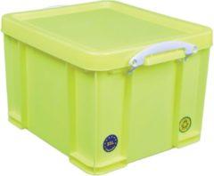 Really Useful Box opbergdoos 35 liter, neon geel met witte handvaten