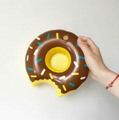 Assortimarkt.nl Opblaasbare Bruine Donut voor in zwembad en stand speelgoed glas / blikhouder opblaasbaar speelgoed voor in water
