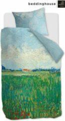 Groene Beddinghouse Field With Poppies Dekbedovertrek - 1-persoons (140x200/220 Cm + 1 Sloop) - Katoen Satijn - Green