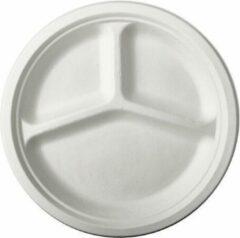 Pure - Disposable Tableware 12x Witte suikerriet vakjesbordjes 26 cm biologisch afbreekbaar - Ronde wegwerp vakjesbordjes - Pure tableware - bbq - Duurzame materialen - Milieuvriendelijke wegwerpservies borden - Ecologisch verantwoord
