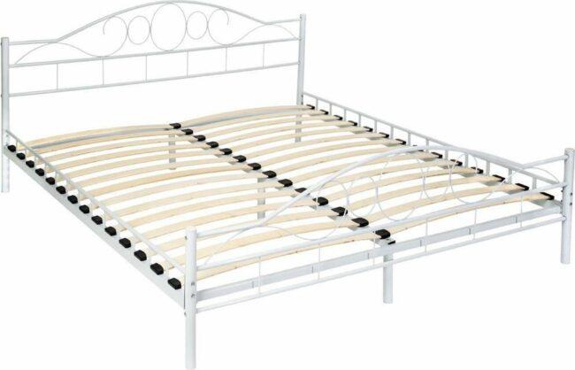 Afbeelding van Witte Tectake Bedframe metalen bed frame met lattenbodem 200*180 cm 401726