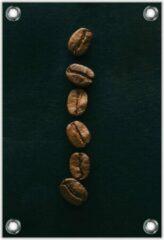 Bruine KuijsFotoprint Tuinposter –Rij Koffiebonen– 80x120cm Foto op Tuinposter (wanddecoratie voor buiten en binnen)