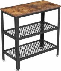 Vasagle Sidetable of haltafel hout met metaal   dressoir met 2 gaasplanken   60 x 30 x 60 cm   wandtafel sidetables bijzettafel vintage houten tafel   Rustiek Bruin