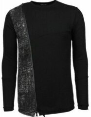 Zwarte Sweaters Enos Long Tee Zipper - Sweater